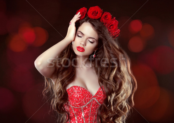 Long wavy Hair. Makeup. Beautiful Woman with roses. Beauty Portr Stock photo © Victoria_Andreas