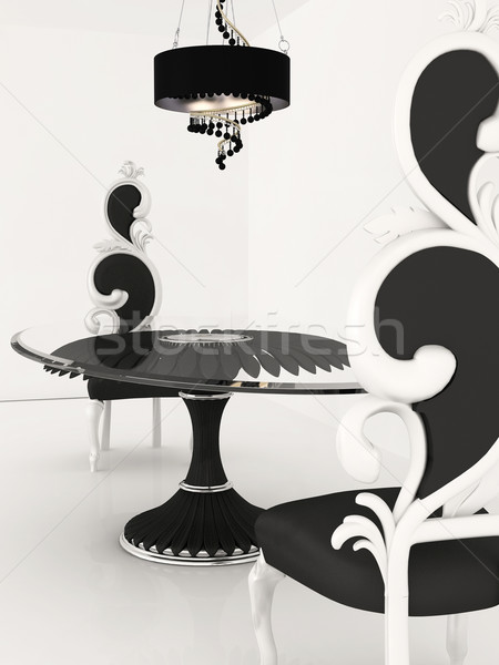 Perspective of baroque chairs and table in luxurious interior Stock photo © Victoria_Andreas