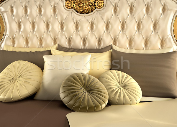 Deluxe back of bed and pillows. Royal and luxurious Stock photo © Victoria_Andreas