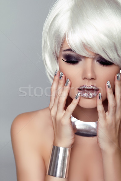 Beauty Girl Portrait. Fashion Blond Woman. Isolated on Grey Back Stock photo © Victoria_Andreas