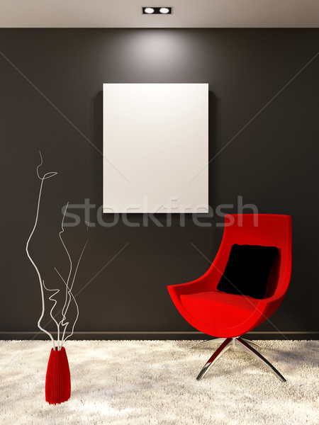 Red armchair with pillow and white blank on the black wall in mi Stock photo © Victoria_Andreas