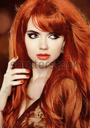 Portrait of Beautiful Girl With Healthy Long Red Hair and Makeup Stock photo © Victoria_Andreas