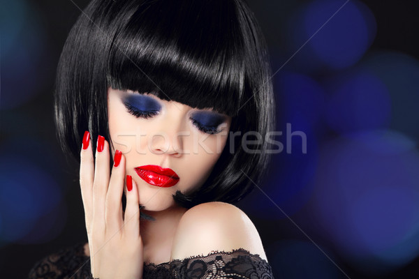 Fashion Glamour Beauty Model Girl with Makeup and bob short Hair Stock photo © Victoria_Andreas