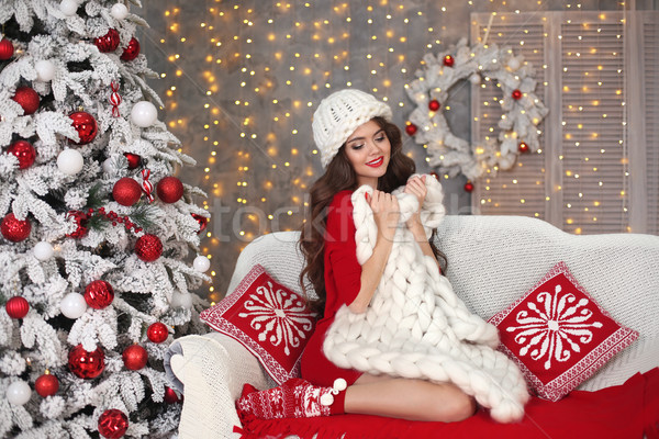 クリスマス 美しい サンタクロース 少女 笑顔の女性 長髪 ストックフォト © Victoria_Andreas