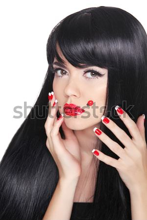 Beauty closeup portrait of brunette girl with professional makeu Stock photo © Victoria_Andreas