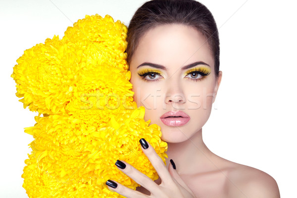 Beautiful young woman portrait. Beauty girl face with flowers. M Stock photo © Victoria_Andreas