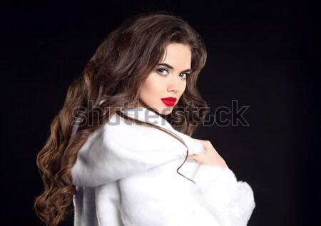 Saç makyaj güzel esmer kız kürk Stok fotoğraf © Victoria_Andreas
