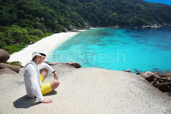 Summer man vacation. Tropical beach, Similan Islands, Andaman Se Stock photo © Victoria_Andreas