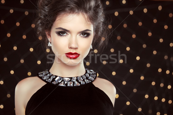 Fashion Brunette Model Portrait. Jewelry and Hairstyle. Elegant  Stock photo © Victoria_Andreas
