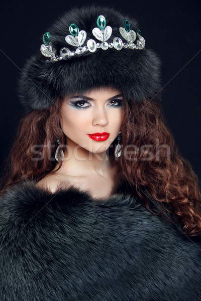 Beauty Fashion Model Girl in Fur Coat. Diamond jewelry. Beautifu Stock photo © Victoria_Andreas