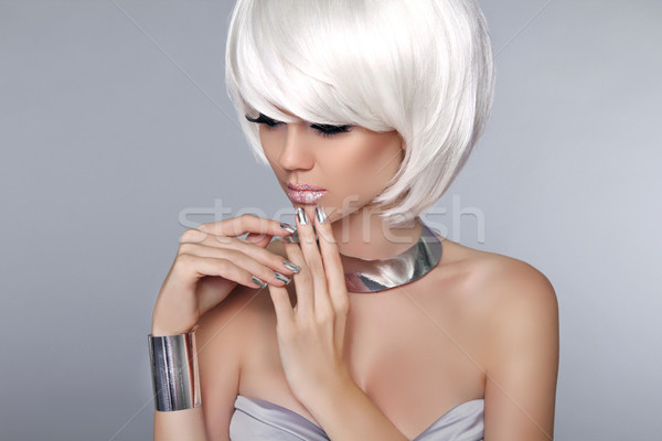 Blonde Bob Hairstyle. Fashion beautiful young girl in luxurious  Stock photo © Victoria_Andreas