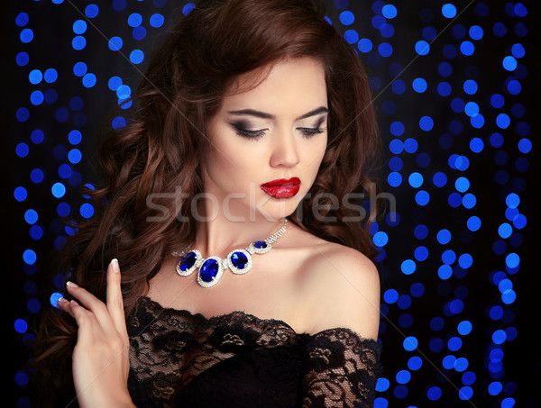 Beauty fashion portrait of elegant woman with red lips makeup, h Stock photo © Victoria_Andreas