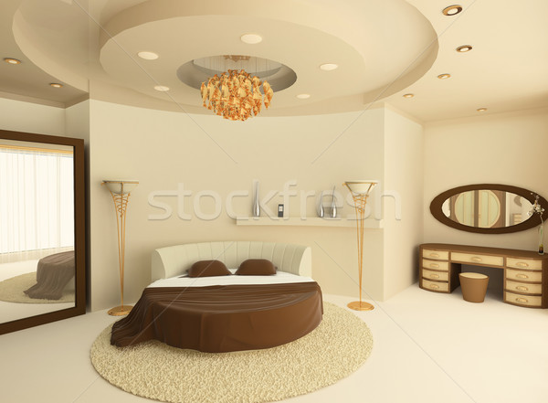 Stock photo: Round bed with a suspended ceiling in a luxurious bedroom