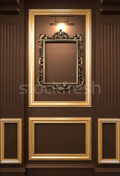 Golden empty frame on wooden wall in Luxurious interior. Old exh Stock photo © Victoria_Andreas