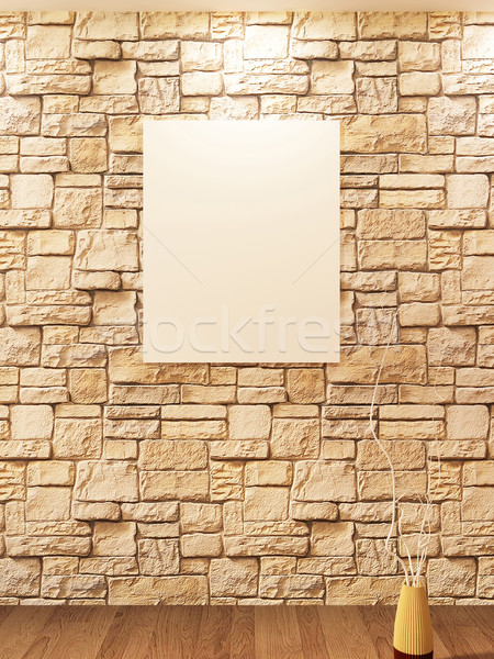Blank on brick stone wall and Decorative vase on a parquet Stock photo © Victoria_Andreas