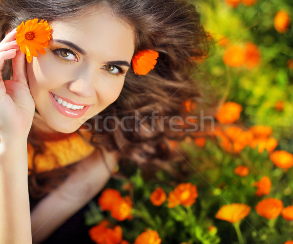 Enjoyment. Free Happy Woman Enjoying Nature. Beauty Girl over ma Stock photo © Victoria_Andreas