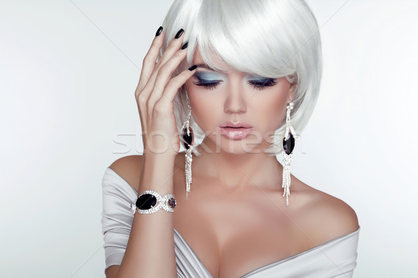 Fashion Beauty Girl. Woman Portrait with White Short Hair. Jewel Stock photo © Victoria_Andreas