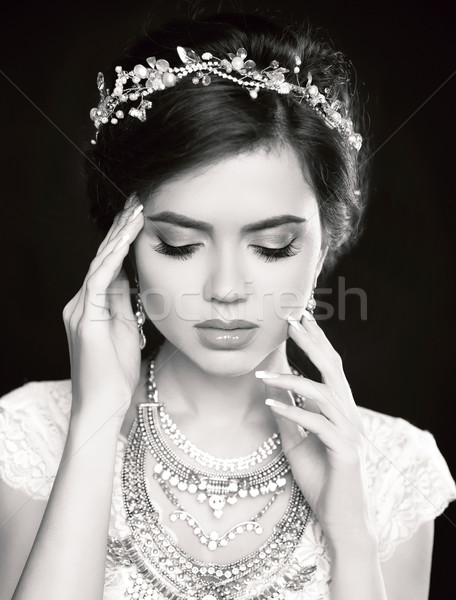 Portrait of Beautiful fashion bride girl model portrait. Makeup. Stock photo © Victoria_Andreas