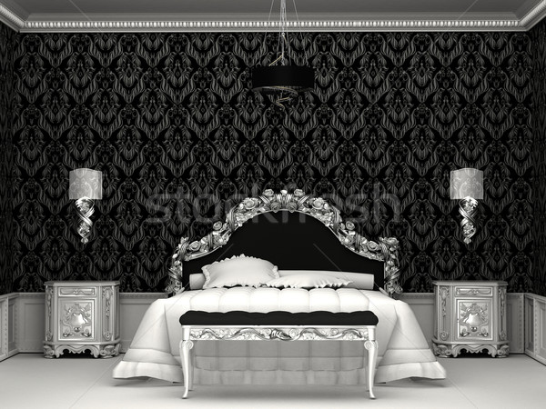 Stock photo: Baroque furniture in roayl bedroom