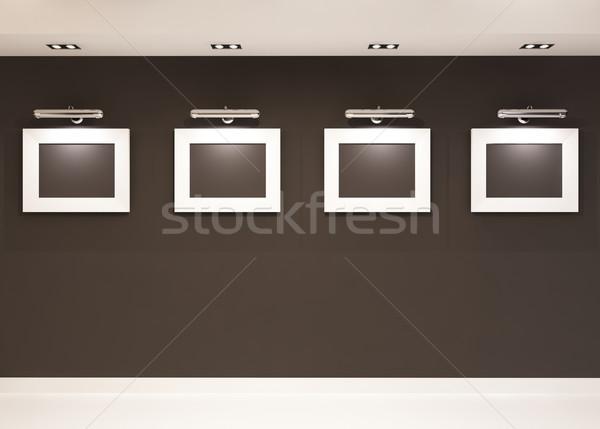 выставочный зал четыре пусто кадры черный стены Сток-фото © Victoria_Andreas