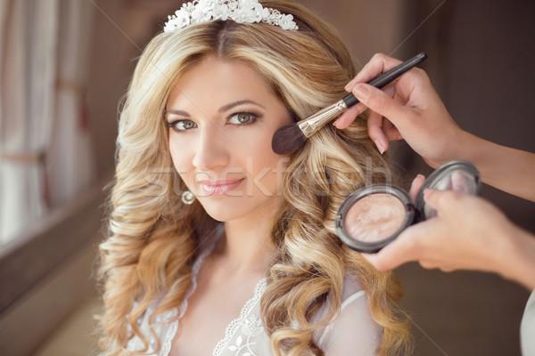 make up rouge. Healthy hair. beautiful smiling bride wedding por Stock photo © Victoria_Andreas
