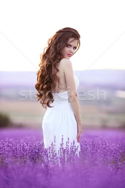 美しい 若い女性 肖像 ラベンダー畑 魅力的な ブルネット ストックフォト © Victoria_Andreas