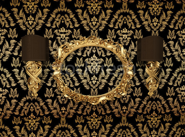 Luxury gold frame against wallpaper with an ornament Stock photo © Victoria_Andreas