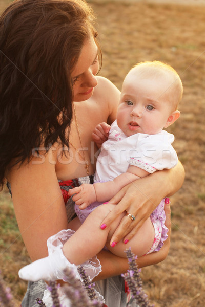 Beautiful baby of three months old in his mothers hands, outdoor Stock photo © Victoria_Andreas