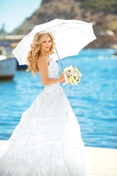 Eleganten Braut Freien Hochzeit Porträt schönen Stock foto © Victoria_Andreas