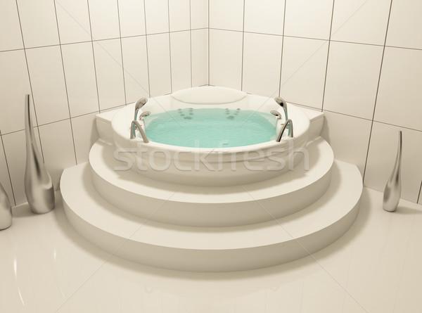 Witte bad badkamer romantische atmosfeer ontwerp Stockfoto © Victoria_Andreas
