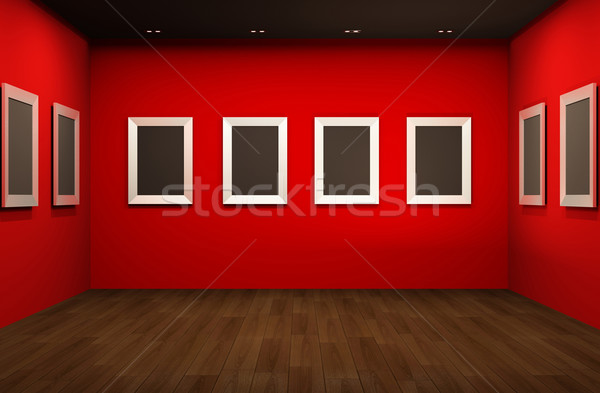 Front perspective of gallery room. Empty blank frames in Showroo Stock photo © Victoria_Andreas