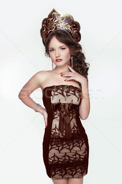 Beautiful woman with kokoshnik. Jewelry and Beauty. Fashion art  Stock photo © Victoria_Andreas