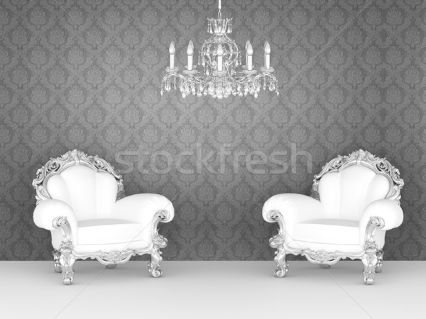 Luxurious armchairs in baroque interior. Ornament wallpapers. Stock photo © Victoria_Andreas