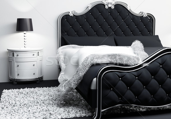 Luxurious furniture in bedroom interior. Modern Bed with pillows Stock photo © Victoria_Andreas