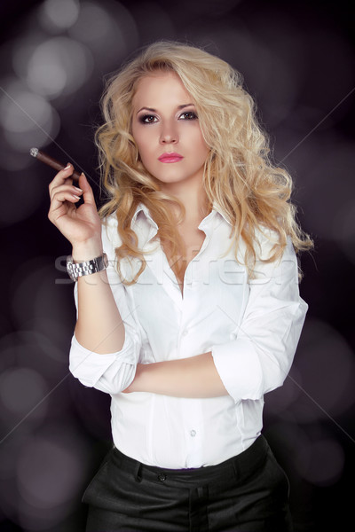 Sexy smoking beautiful woman cigar closeup studio shot Stock photo © Victoria_Andreas