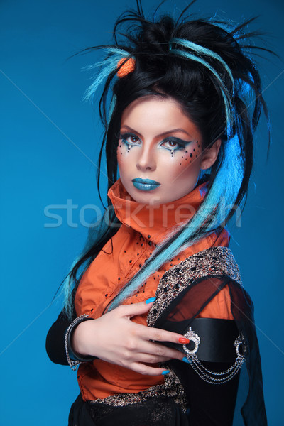 Makeup. Punk Hairstyle. Close up portrait of Rock girl with Blue Stock photo © Victoria_Andreas