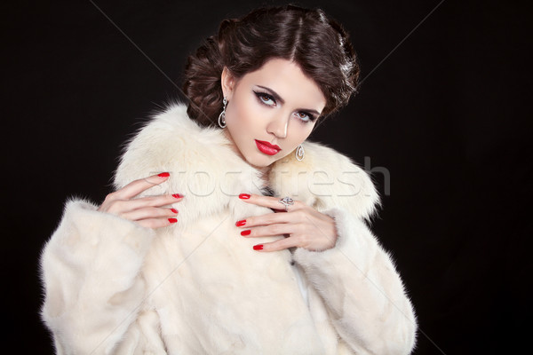 Schoonheid mode model meisje pels make Stockfoto © Victoria_Andreas