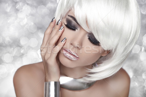 Fashion Blond Girl. Smoky Eye makeup. Beauty Portrait Woman over Stock photo © Victoria_Andreas