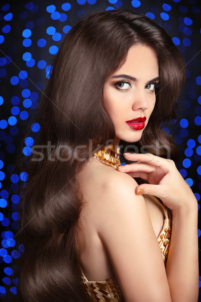 Beauty brunette portrait. Wavy hair.  Elegant lady with red lips Stock photo © Victoria_Andreas