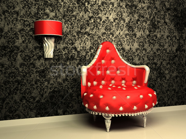 Armchair with lamp in interior with pattern wallpaper Stock photo © Victoria_Andreas