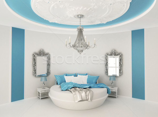 Round bed in baroque interior. Luxurious furniture in  Blue room Stock photo © Victoria_Andreas