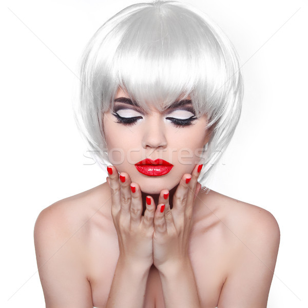 Makeup and Hairstyle. Red Lips and Manicured Nails. Fashion Beau Stock photo © Victoria_Andreas