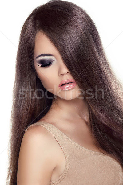 Beauty Girl Portrait. Fashion Model Woman with Long Healthy Brow Stock photo © Victoria_Andreas