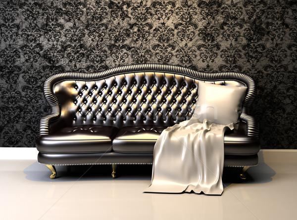 Leather sofa in interior with decoration wallpaper Stock photo © Victoria_Andreas