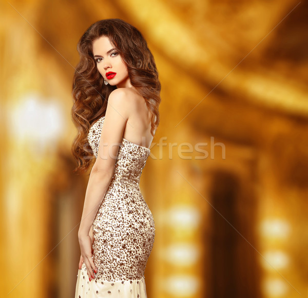 Beauty fashion elegant woman model in luxury dress with beaded a Stock photo © Victoria_Andreas
