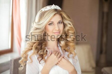 Longo cabelos cacheados belo loiro feliz sorridente Foto stock © Victoria_Andreas