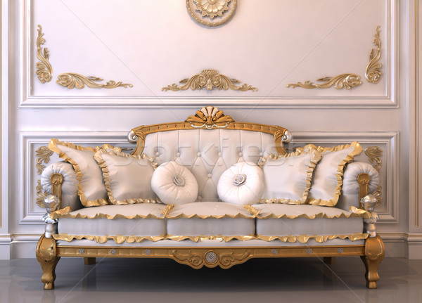 Luxurious leather sofa with pillows in Royal interior Stock photo © Victoria_Andreas