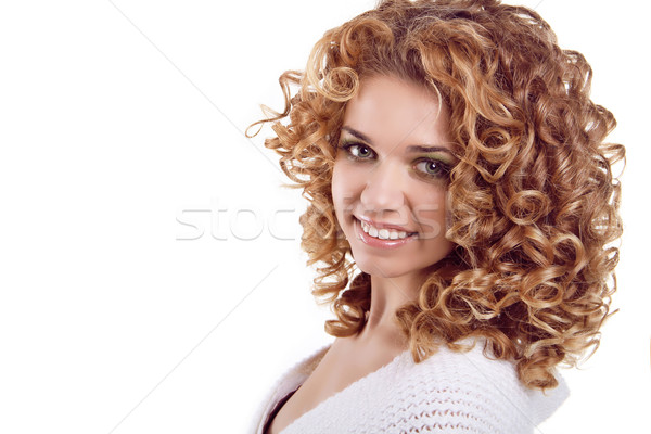 Attractive smiling woman portrait on white background. Beauty Po Stock photo © Victoria_Andreas
