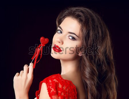 Elegant woman with red rose. Glamour portrait of female makeup Stock photo © Victoria_Andreas