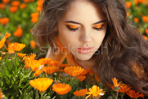 Eye makeup. Beauty Romantic Girl Outdoors. Beautiful Teenage Mod Stock photo © Victoria_Andreas